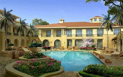 Wallpapers Mansion Pool Desktop Luxury Garden