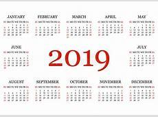 Kalendarz 2019 Prosty Kalendarzowy Szablon Dla Roku 2019