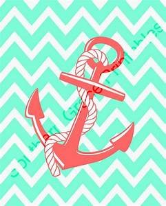 Anchor w/Chevron Background Printable chevron anchor coral ...