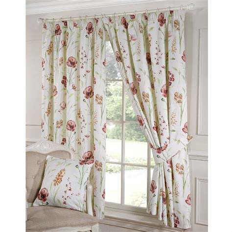 ellie floral print pencil pleat curtains terracotta