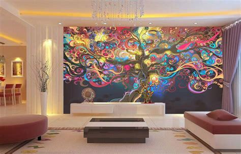 tree  life colour abstract full wall mural photo