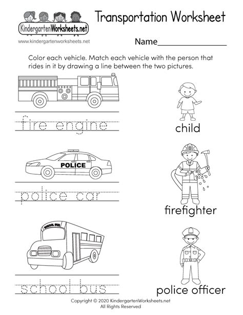 transportation worksheet  kindergarten learning