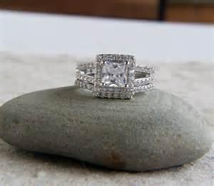 princess cut wedding set 925 sterling silver set of 2 3 5 ct cz princess cut halo bridal ring set wedding set size 5 6 7