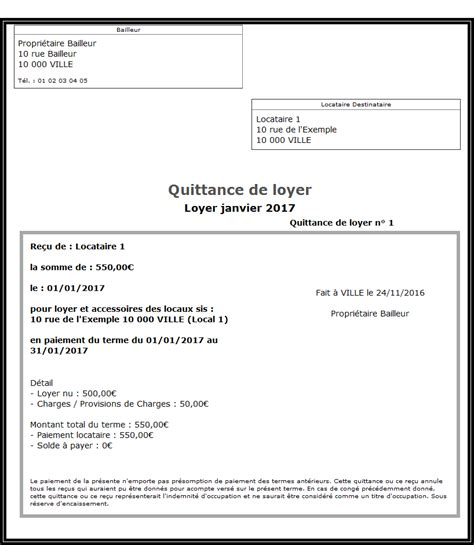 modele attestation de loyer quittance de loyer