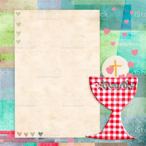 First Holy Communion Invitation Card Stock Photo