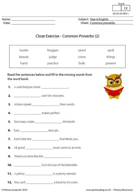 cloze exercise common proverbs 2 primaryleap co uk