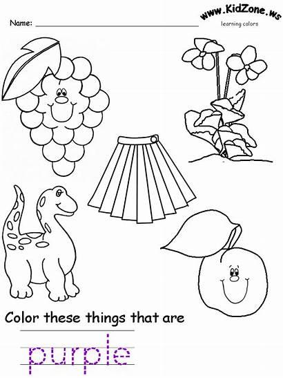 Purple Worksheets Colors Worksheet Preschool Pages Printable