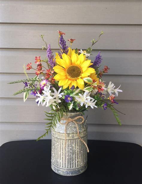 farmhouse flower arrangement milk  sunflower