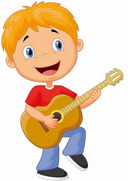 Clipart Guitar Boy Cartoon Musical Playing Clip