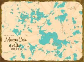 Minocqua Chain of Lakes WI Map Canvas Print