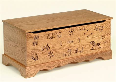 Oak Wood Toy Chest With Carving And Optional Engraving From