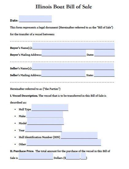 Boat Donation Illinois by Free Illinois Boat Bill Of Sale Form Pdf Word Doc