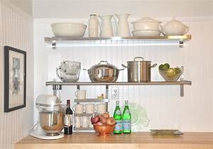 white wall shelves for effective storage in small kitchen With kitchen colors with white cabinets with metal name wall art