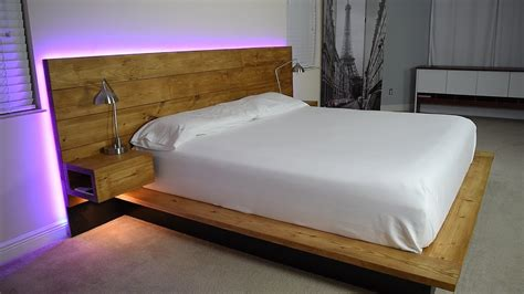 diy platform bed  floating night stands plans