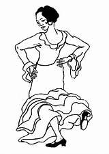 Coloring Flamenco Dancer sketch template