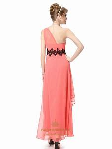 Coral One Shoulder Chiffon Long Prom Dress,Coral One ...