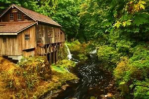 Cedar, Creek, Grist, Mill, Autumn, River, Stream, Forest, House, Building, Fall, Wallpaper