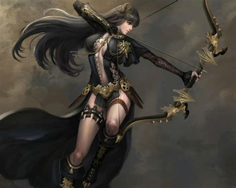 archer arrow black fighter woman girl game ultra bow