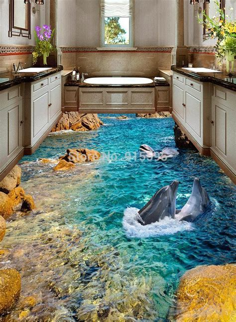 Custom Hd Dolphin Seaview 3D Floor Stickers Hotel Bathroom