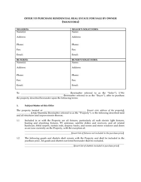 real estate forms for sale by owner manitoba fsbo real estate contract forms and