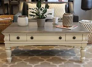 chalk painted coffee table our refinished furniture With coffee table chalk paint ideas