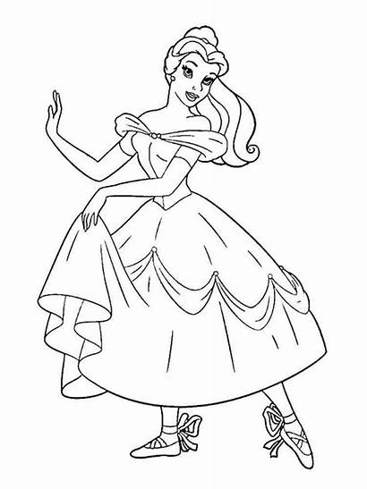 Belle Coloring Princess Pages Beast Beauty Printable