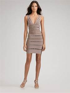 herve leger swarovski crystalembellished bandage dress in With herve leger robe bandage