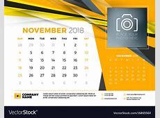 November 2018 desk calendar design template with Vector Image