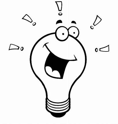 Bulb Coloring Pages Laughing Template Clipart Cartoon