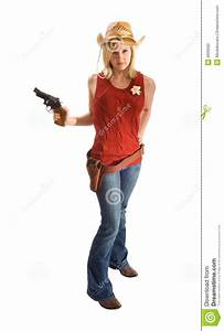 Cowgirl With Hat And Gun Stock Photography - Image: 6939582