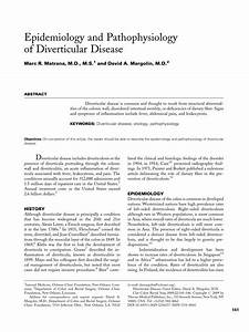 Pdf  Epidemiology And Pathophysiology Of Diverticular Disease