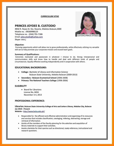 How To Write A Cv For A Application by 5 Cv Images For Theorynpractice