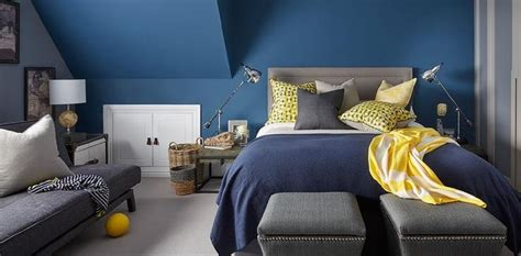 yellow gray  blue bedroom features walls painted blue