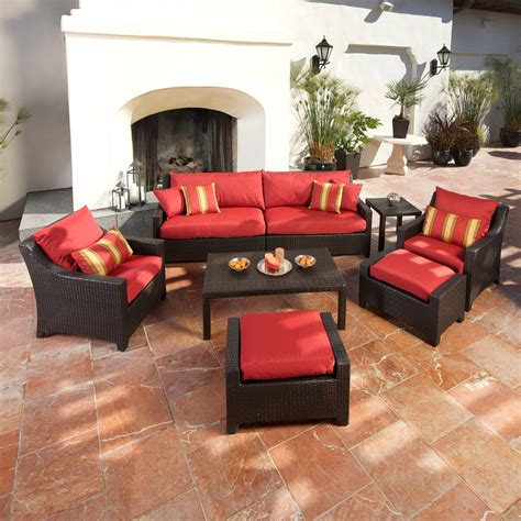 patio set with ottoman rst outdoor cantina 8 piece sofa with club chair and
