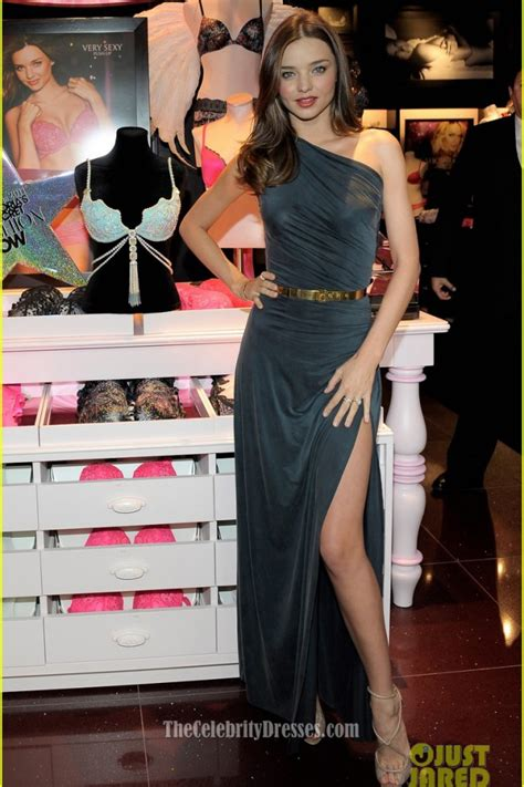 celebrity dresses miranda kerr  shoulder dress relaunches victorias secret south coast plaza