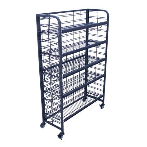wire display racks five shelf rolling wire display buy acrylic displays