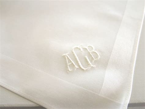 set of 3 assorted color fine cotton mens monogrammed set of 3 ivory color fine cotton mens handkerchiefs with