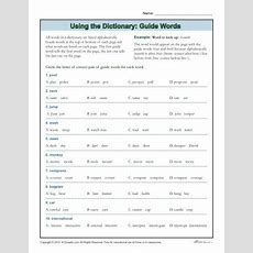 Dictionary Skills Worksheets  Guide Words