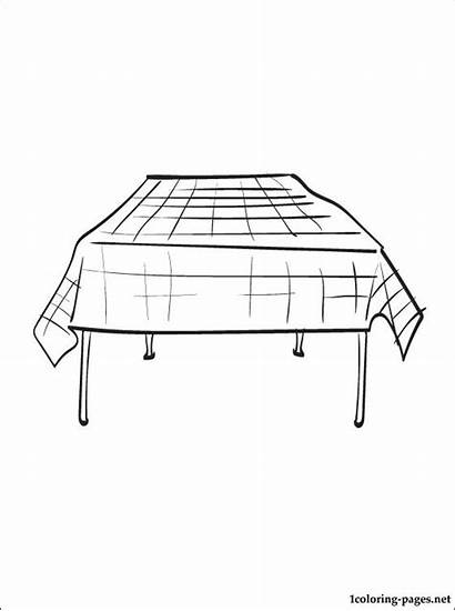Coloring Tablecloth Kitchen Pages Utensils Printable Interested