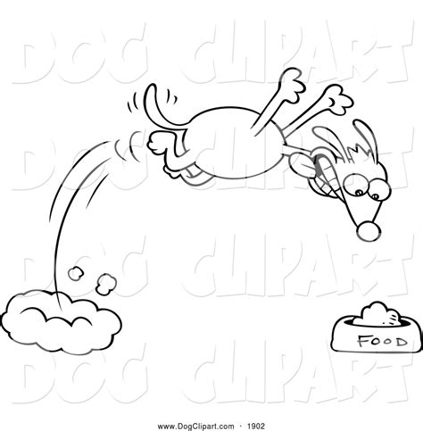 Clip Art of a Black and White Hungry Dog Diving Towards ...