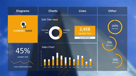 powerpoint dashboard template blur dashboard slide for powerpoint with blue background slidemodel