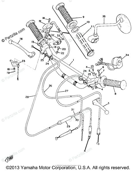 Yamaha Motorcycle Oem Parts Diagram For Handle Wire
