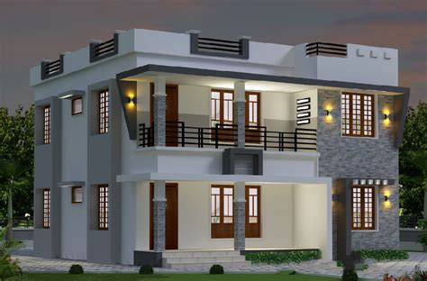 sqft modern double floor kerala home design amazing