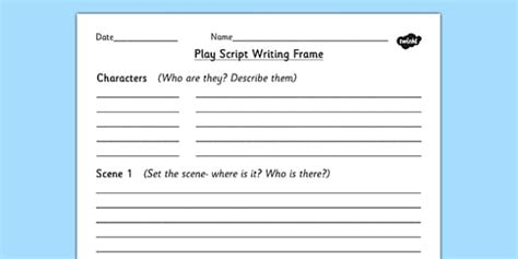 play script writing frame play role play writing aid