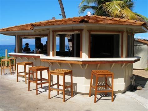 Outside Bar Furniture by Enchanting Tropical Style Outdoor Bars With Wooden Stools