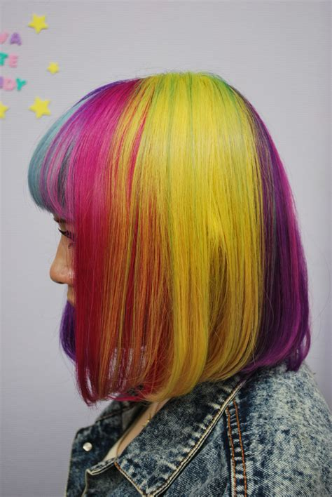 Rainbow Bob Hair Hair Colors Ideas