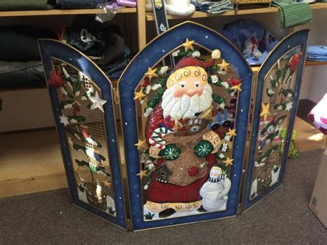 santa fireplace screen gorgeous santa fireplace screen three