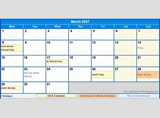 March 2027 UK Calendar with Holidays for printing image