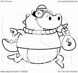 Lizard Bank Cartoon Clipart Robbing Coloring Outlined Vector Cory Thoman Royalty sketch template