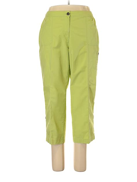 chicos solid green cargo pants size lg    thredup